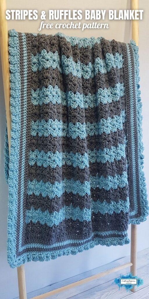 BLOG POSTER PIN 1 - Stripes & Ruffles Baby Blanket