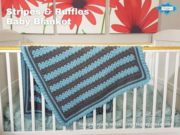 FB BLOG POSTER - Stripes & Ruffles Baby Blanket