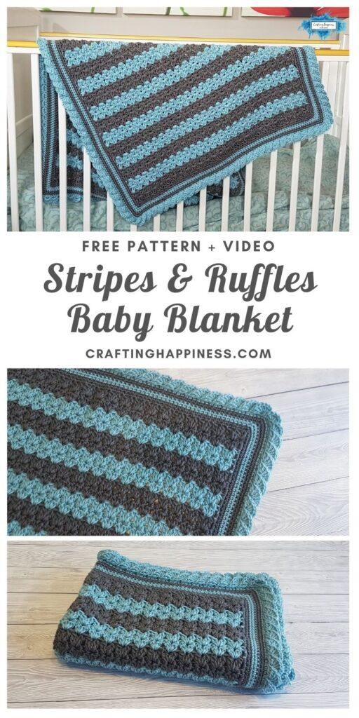 MAIN PIN BLOG POSTER Stripes & Ruffles Baby Blanket