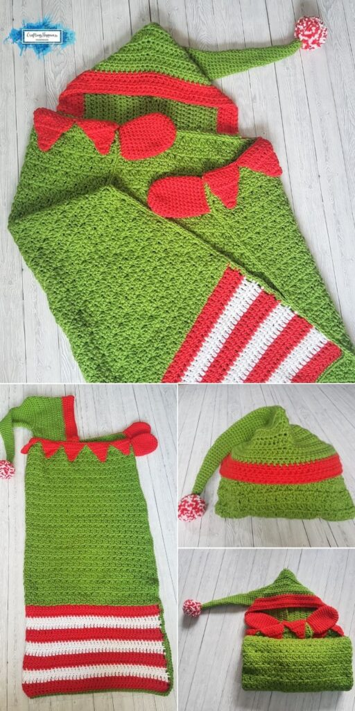 PIN 1 BLOG POSTER Christmas Elf Hooded Blanket _ Crafting Happiness