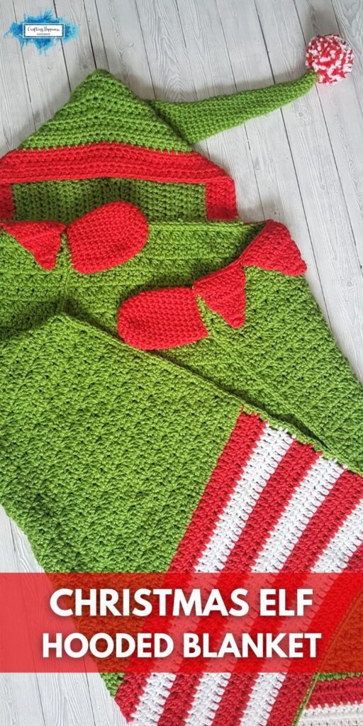 PIN 2 BLOG POSTER Hooded Christmas Elf Blanket _ Crafting Happiness