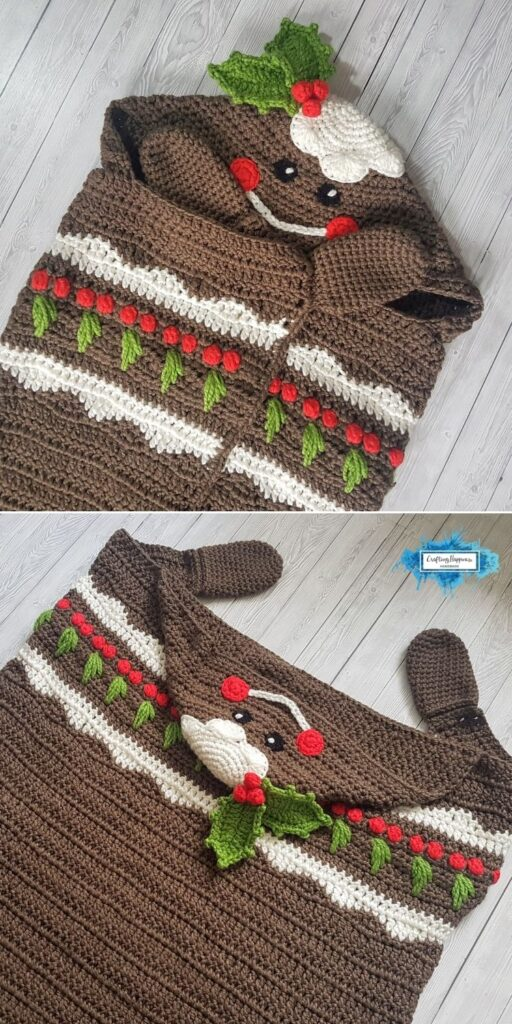 PIN 3 BLOG POSTER Christmas Pudding Hooded Blanket Crochet Pattern _ Crafting Happiness