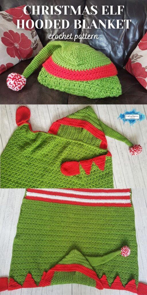 PIN 4 BLOG POSTER Crochet Christmas Elf Hooded Blanket Pattern