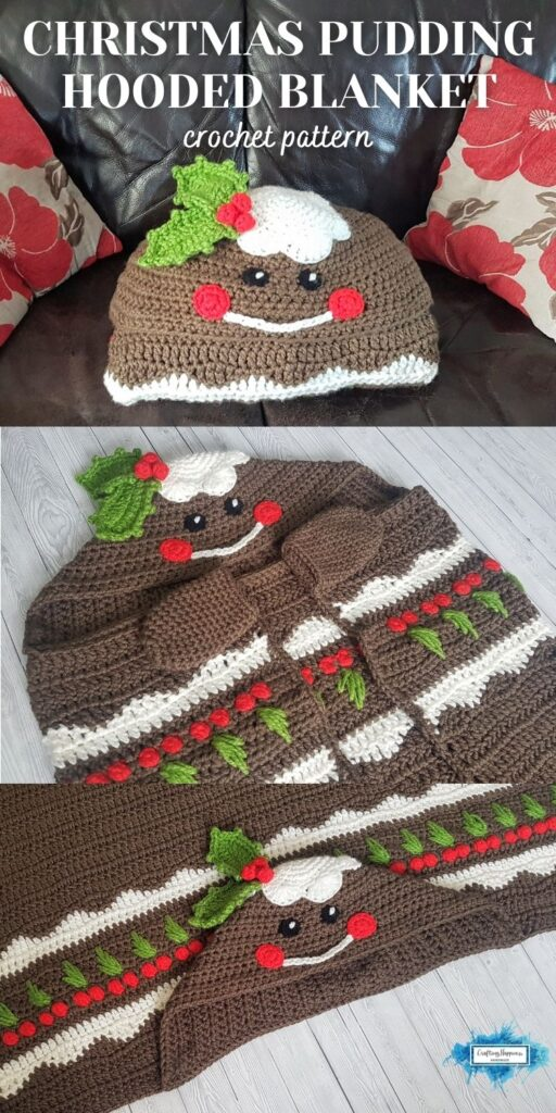 PIN 4 BLOG POSTER Crochet Christmas Pudding Hooded Blanket Pattern _ Crafting Happiness