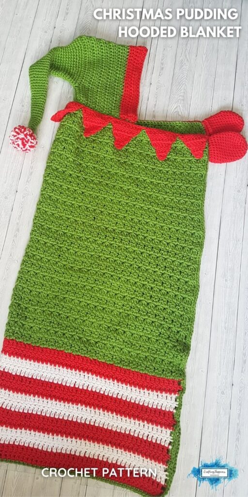 PIN 5 BLOG POSTER Christmas Elf Hooded Blanket _ Crochet Pattern by Crafting Happiness