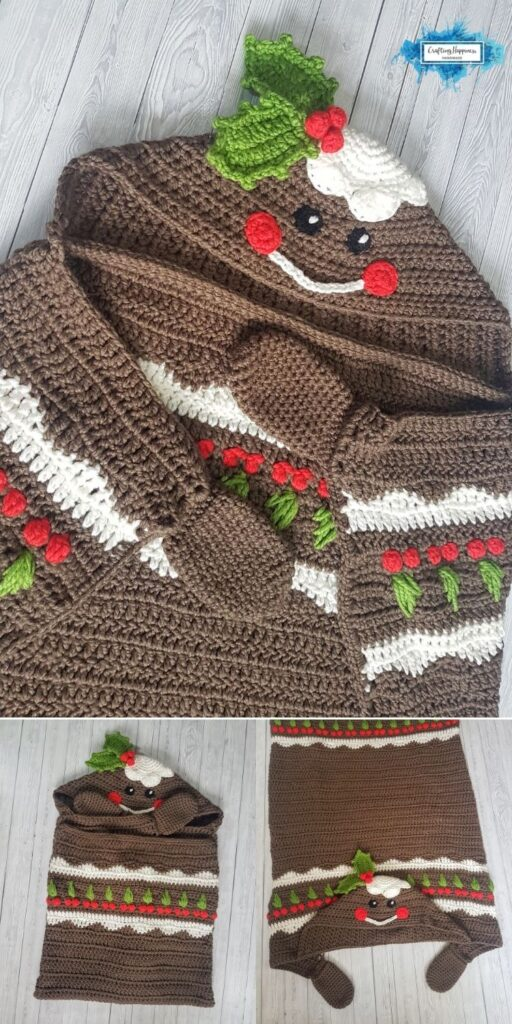 PIN 6 BLOG POSTER 2in1 Christmas Pudding Hooded Blanket Crochet Pattern _ Crafting Happiness