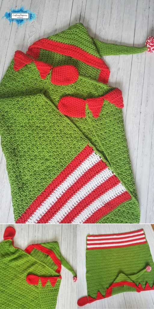 PIN 6 BLOG POSTER Christmas Elf Hooded Blanket _ Pattern by Crafting Happiness