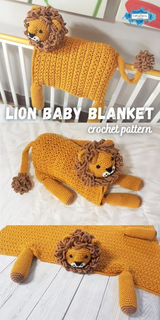 Animal Safari Lion Baby Blanket by Crafting Happiness