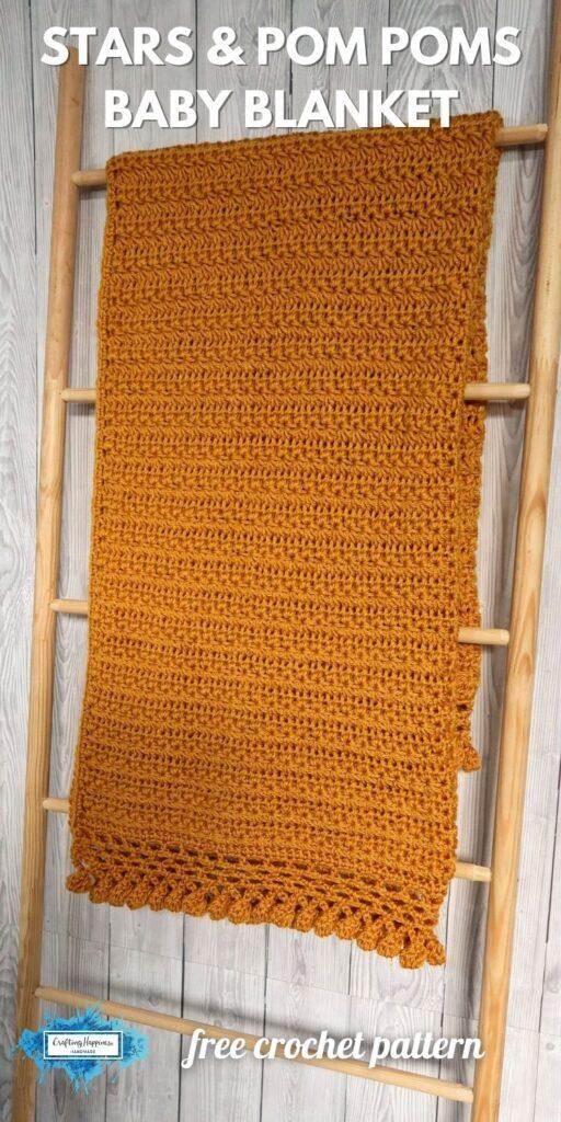 BLOG POSTER PIN 1 - Stars & Pom Poms Baby Blanket Free Crochet Pattern