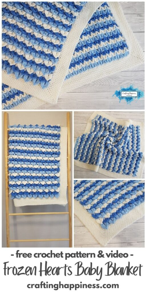 BLOG POSTER PIN 2 - Frozen Hearts Baby Blanket _ Free Crochet Pattern by Crafting Happiness