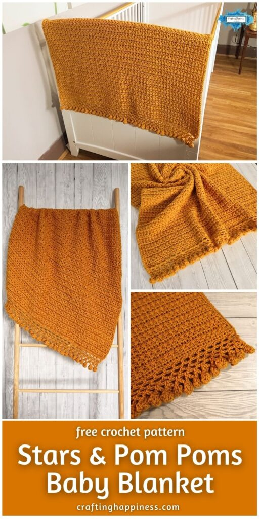 BLOG POSTER PIN 2 - Stars And Pom Poms Baby Blanket _ Free Crochet Pattern by Crafting Happiness