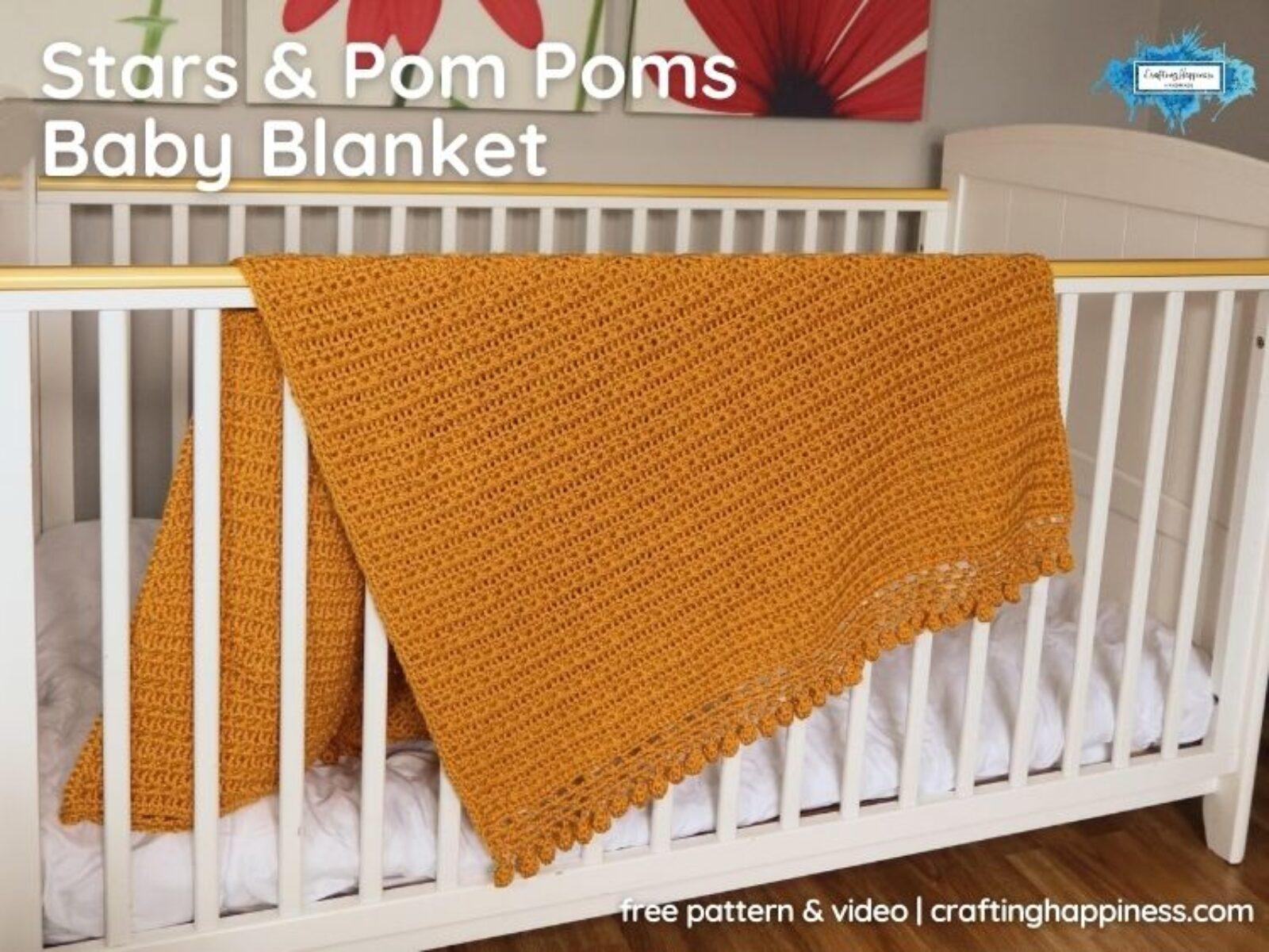 _FB BLOG POSTER - Stars & Pom Poms Baby Blanket