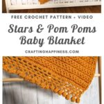 MAIN PIN BLOG POSTER Stars & Pom Poms Baby Blanket _ Crafting Happiness
