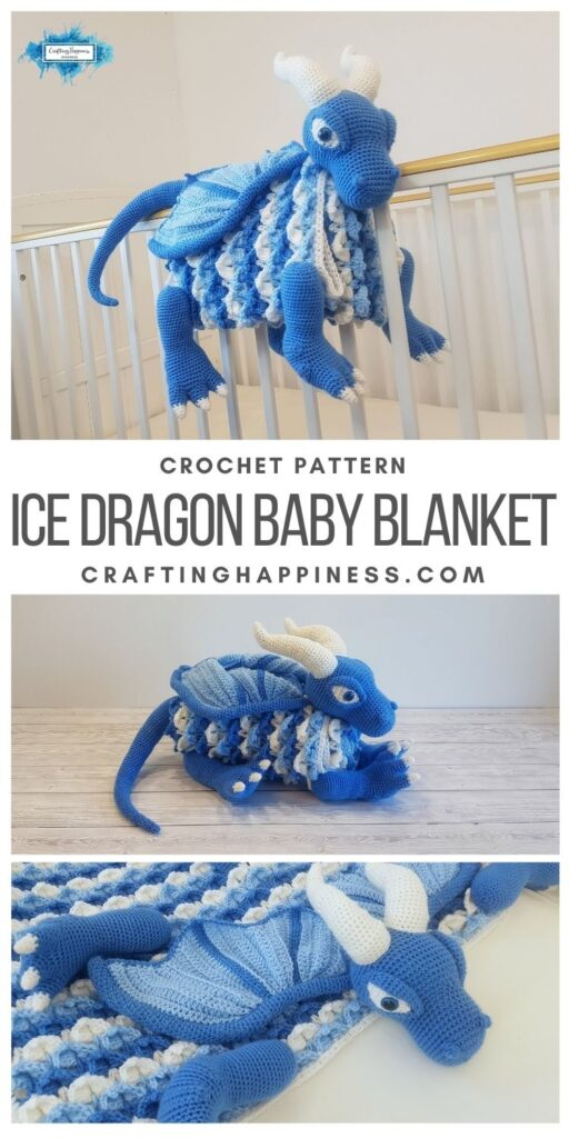 MAIN PINTEREST POSTER 3in1 Ice Dragon Baby Blanket | Crafting Happiness