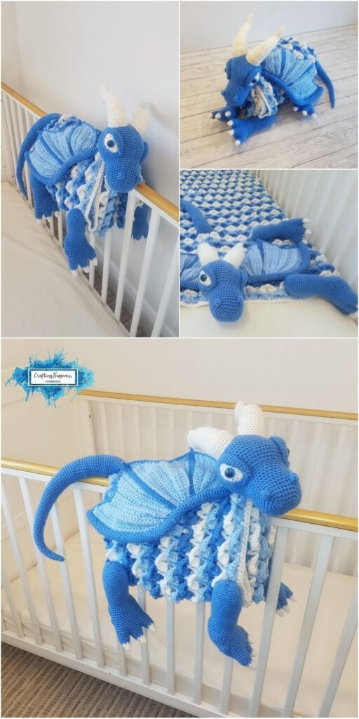 PIN 1 BLOG POSTER Ice Dragon Baby Blanket _ Crochet Pattern by Crafting Happiness