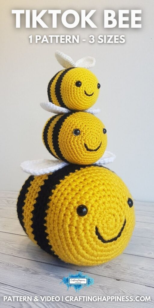 BLOG POSTER PIN 1 - Crochet Tiktok Bee Free Crochet Pattern by Crafting Happiness