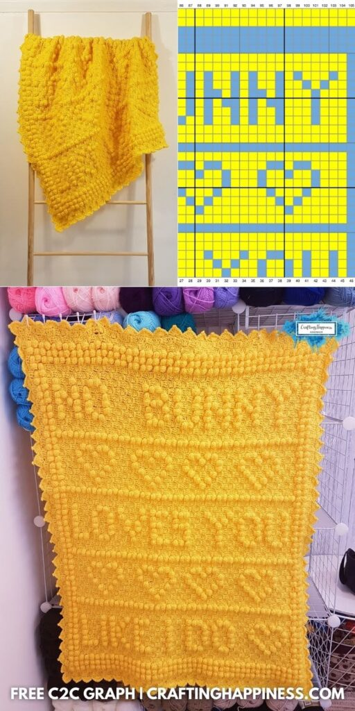 BLOG POSTER PIN 2 - Free Crochet No Bunny Loves You Like I Do C2C Blanket _ Crafting Happiness