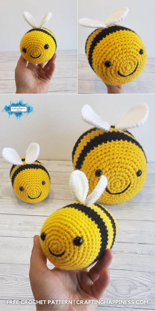 BLOG POSTER PIN 2 - Free Tiktok Bee Crochet Pattern by Crafting Happiness