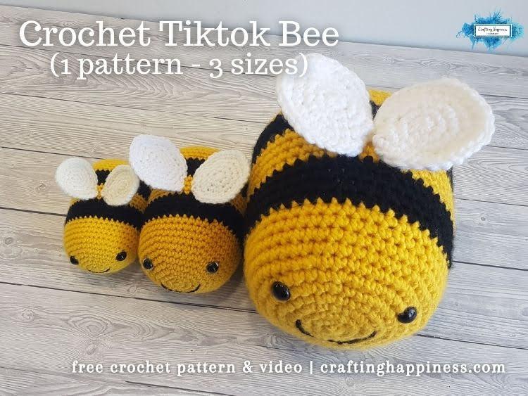 FB BLOG POSTER - Tiktok Bee Free Crochet Pattern _ Crafting Happiness