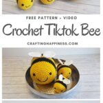 MAIN PIN BLOG POSTER - Tiktok Bee Free Crochet Pattern _ Crafting Happiness