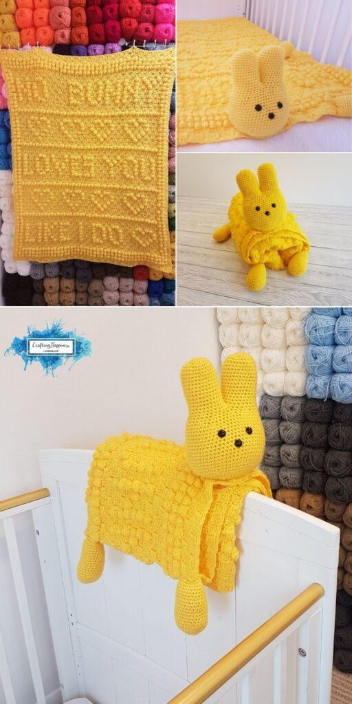 PIN 1 BLOG POSTER 3in1 Easter Peep Bunny Baby Blanket