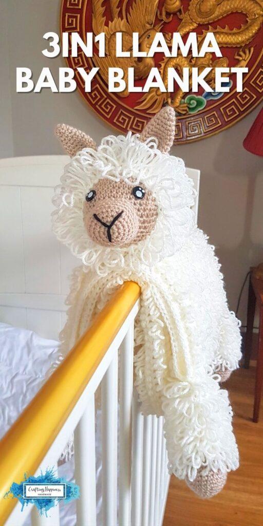 3in1 Llama Animal Baby Blanket Crafting Happiness PINTEREST PIN 2 BLOG POSTER