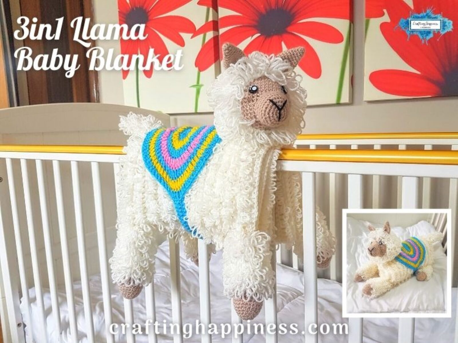 3in1 Llama Baby Blanket Crafting Happiness Facebook Poster