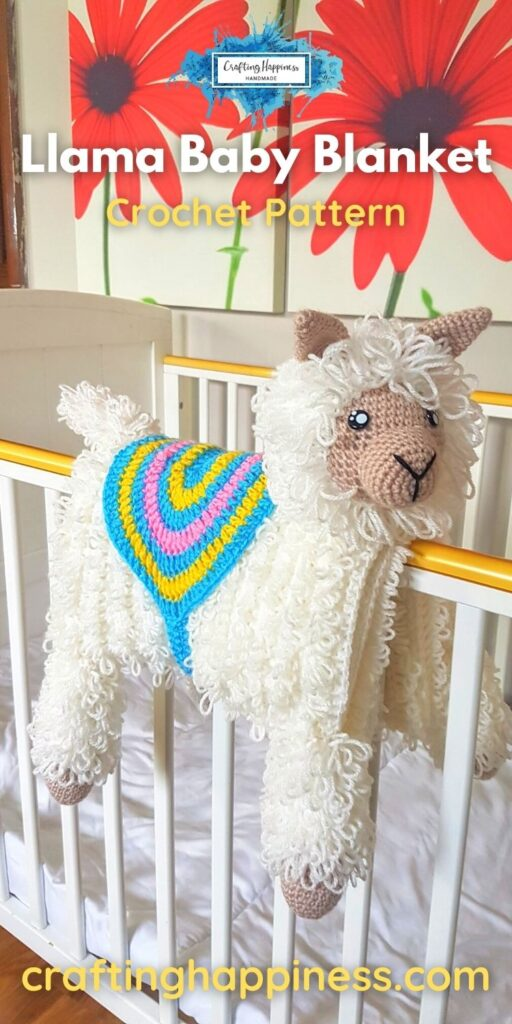 Animal Llama Baby Blanket Crafting Happiness PINTEREST 5 BLOG POSTER