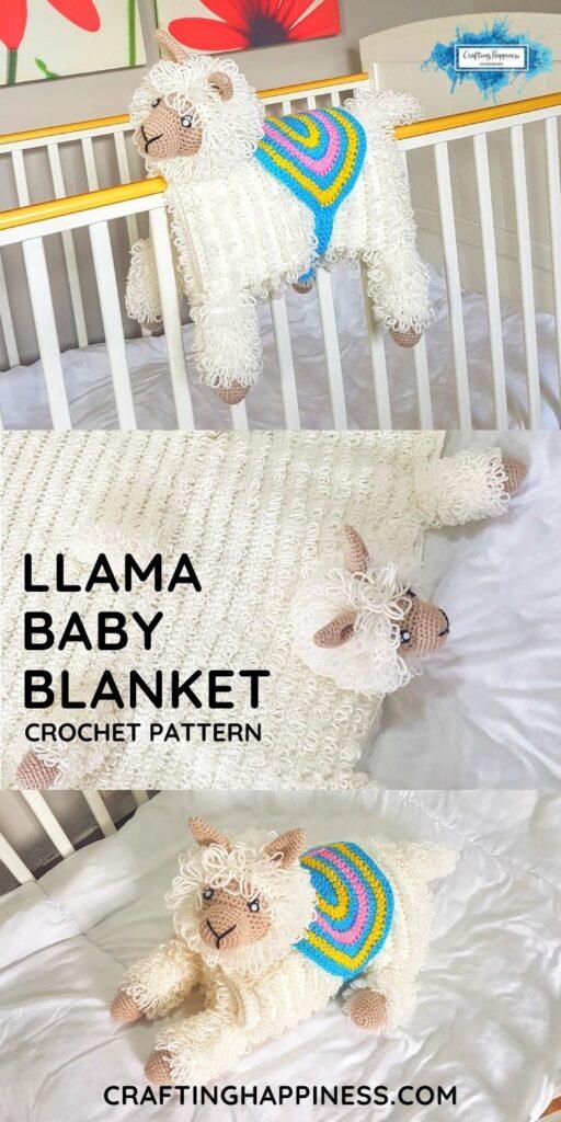 Animal Llama Baby Blanket by Crafting Happiness PINTEREST PIN 4 BLOG POSTER