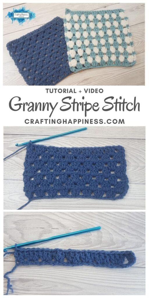 MAIN PIN BLOG POSTER Granny Stripe Stitch Crafting Happiness