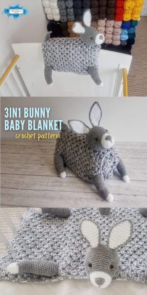 PIN 4 BLOG POSTER - Woodland Bunny Baby Blanket Crochet Pattern by Crafting Happiness