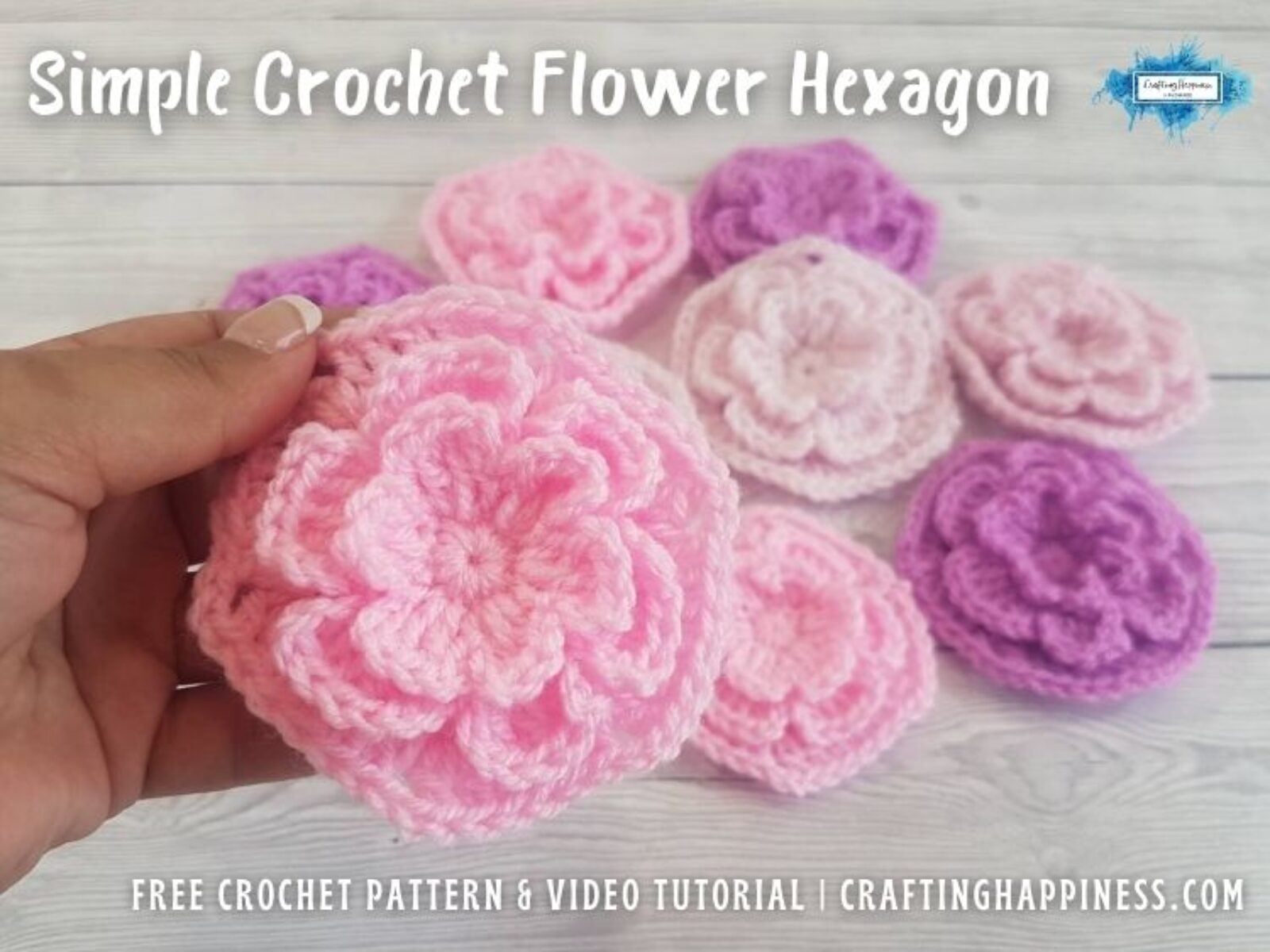FB BLOG POSTER - Simple Crochet Flower Hexagon Crafting Happiness