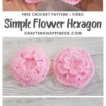 MAIN PIN BLOG POSTER Simple Crochet Flower Hexagon Crafting Happiness