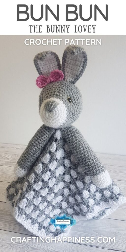 PIN 5 BLOG POSTER - Crochet Bunny Baby Blanket Pattern Crafting Happiness
