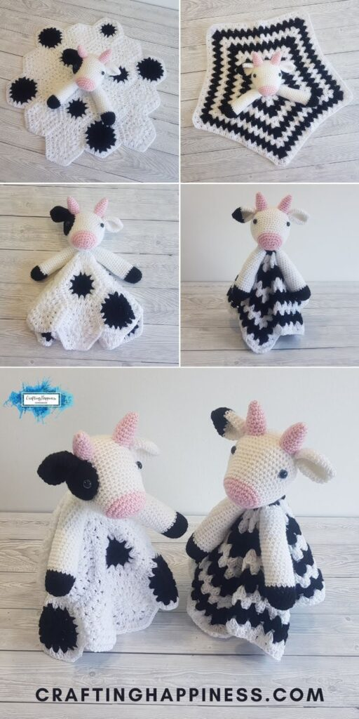 PIN 1 BLOG POSTER - Duke and Daisy Cow Loveys Crochet Pattern Crafting Happiness