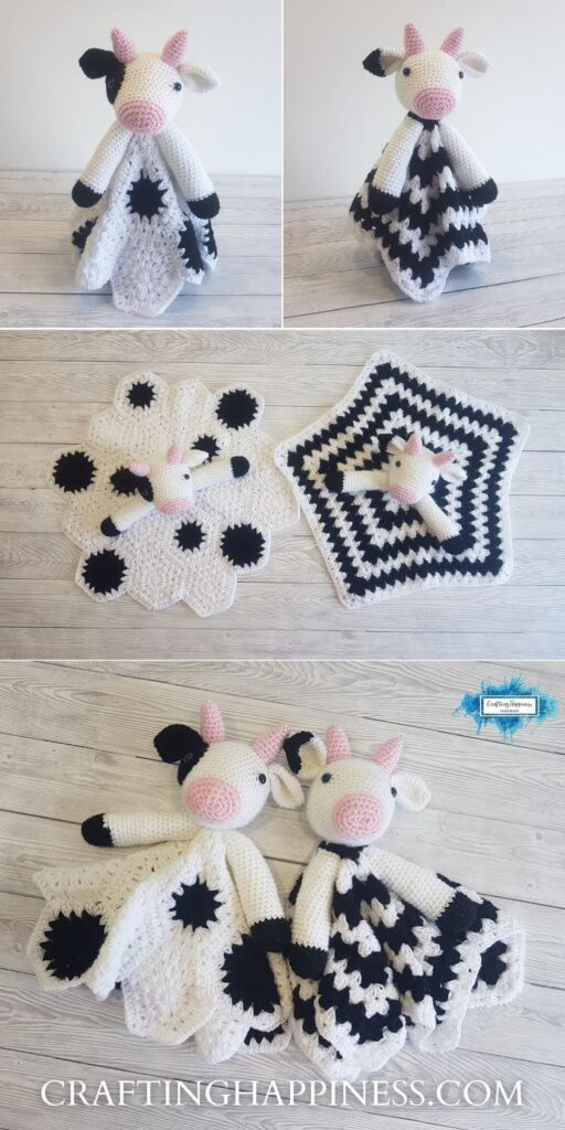 PIN 3 BLOG POSTER - Duke and Daisy The Cow Baby Security Blankets by Crating Happiness