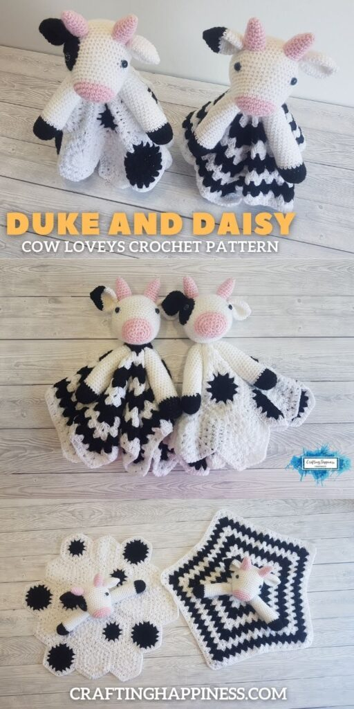 PIN 4 BLOG POSTER - Duke and Daisy Animal Cow Loveys Crochet Pattern by Crafting Happiness