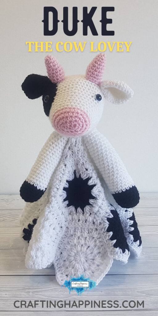PIN 5 BLOG POSTER - Duke The Cow Lovey Crochet Pattern Crafting Happiness