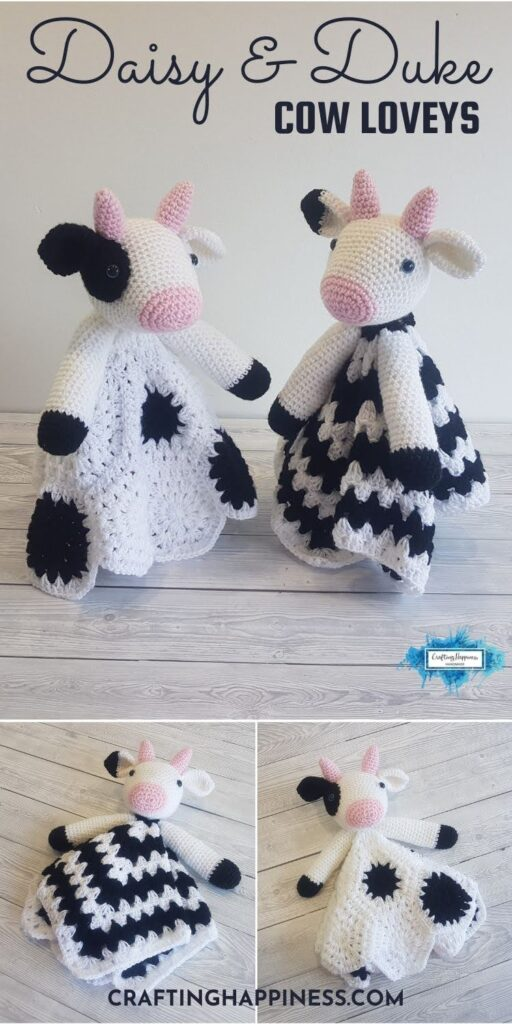 PIN 6 BLOG POSTER - Daisy and Duke The Cow Baby Security Blankets Crafting Happiness