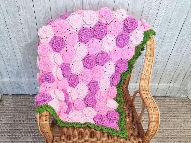 BLOG PHOTO FOR SUMMER GARDEN FLOWER BABY BLANKET Crafting Happiness