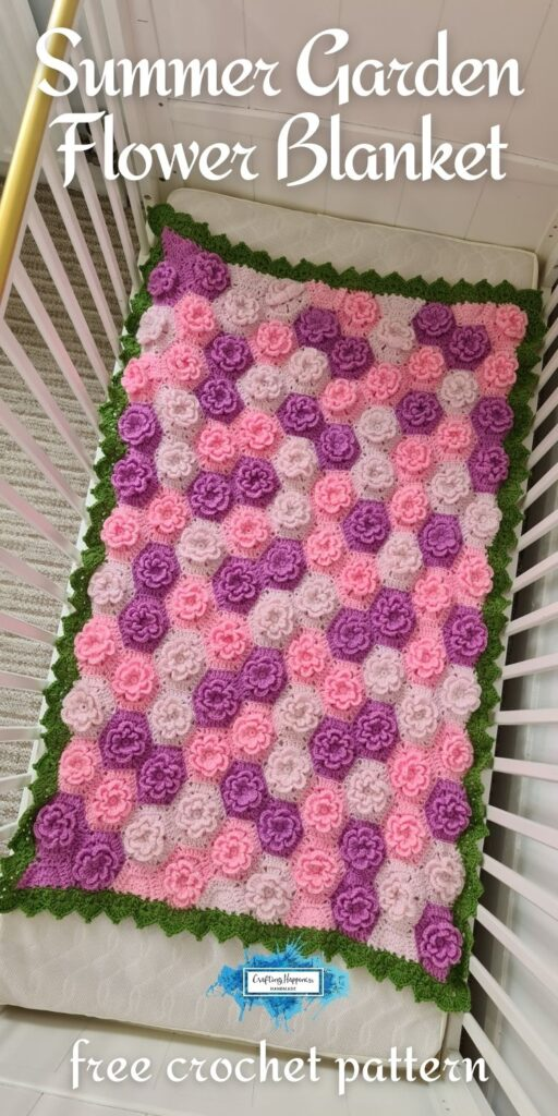 BLOG POSTER PIN 1 - Summer Garden Flower Blanket Free Crochet Pattern by Crafting Happiness