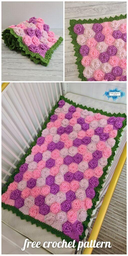 BLOG POSTER PIN 2 - Summer Garden Flower Blanket Free Crochet Pattern Crafting Happiness