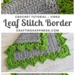 MAIN PIN BLOG POSTER - Crochet Leaf Stitch Border Crafting Happiness