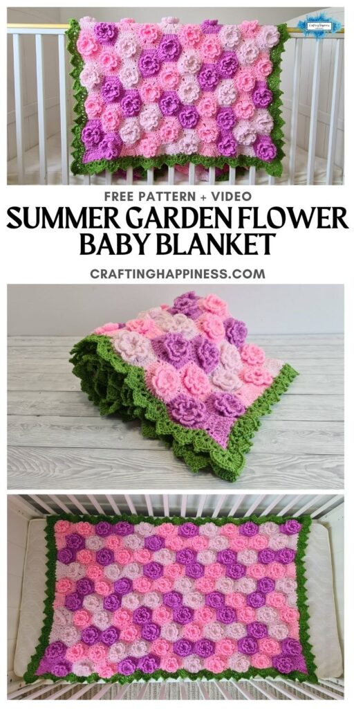 MAIN PIN BLOG POSTER - Summer Garden Flower Baby Blanket Crafting Happiness