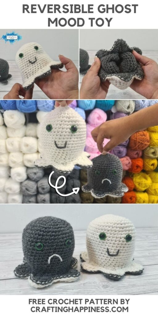 BLOG POSTER PIN 2 - Free Reversible Ghost Mood Toy Crochet Pattern by Crafting Happiness