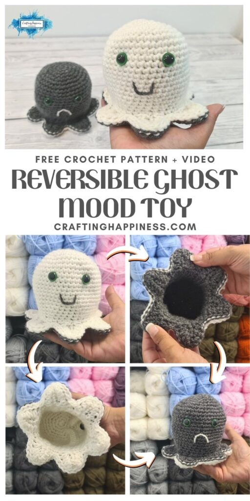 MAIN PIN BLOG POSTER - Crochet Reversible Ghost Mood Toy Crafting Happiness