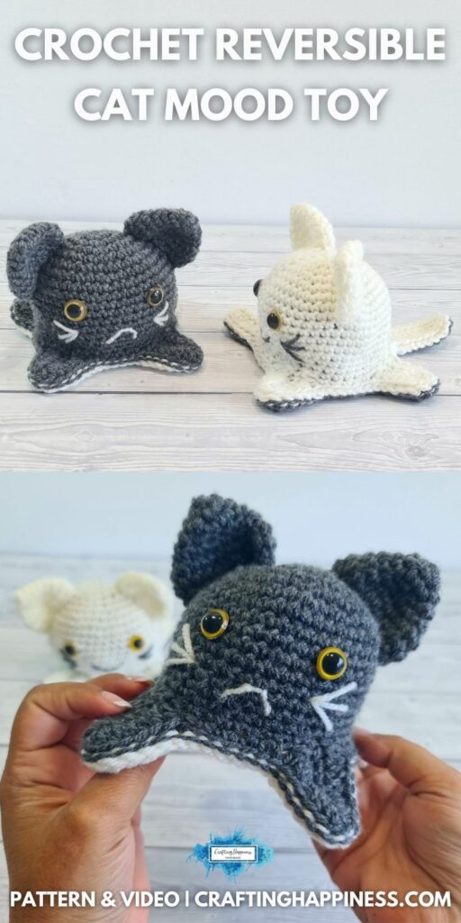 BLOG POSTER PIN 1 - Crochet Reversible Cat Mood Toy Free Crochet Pattern by Crafting Happiness