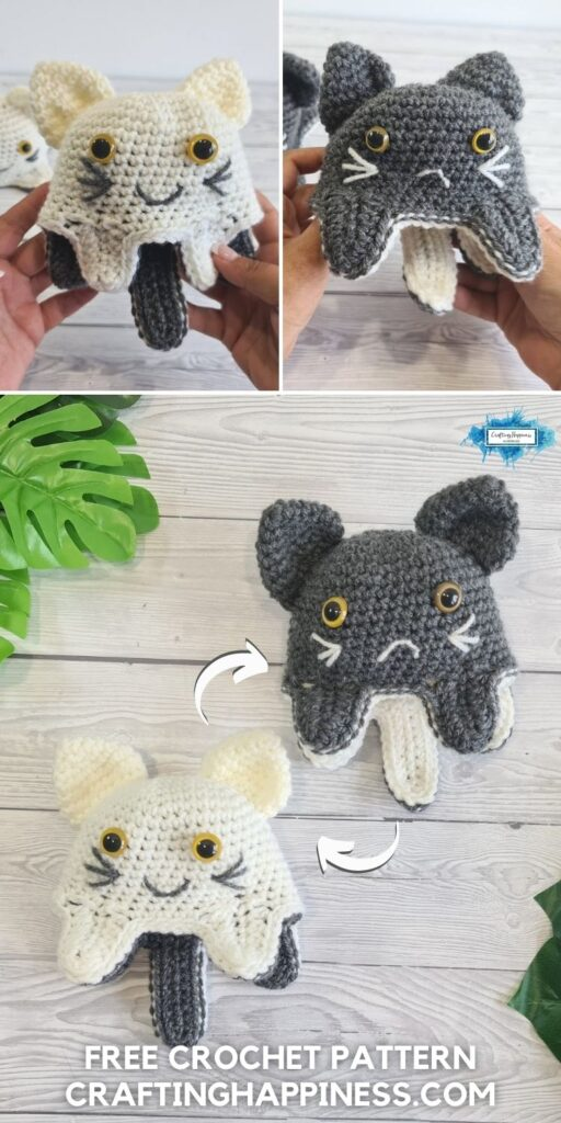 BLOG POSTER PIN 2 - Free Reversible Cat Toy Crochet Pattern by Crafting Happiness