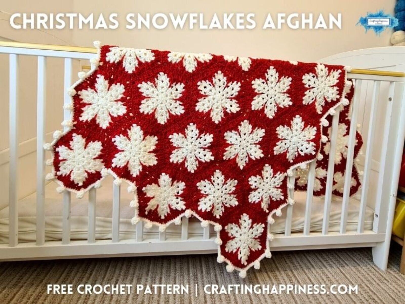 FACEBOOK BLOG POSTER - Christmas Snowflakes Afghan Crafting Happiness